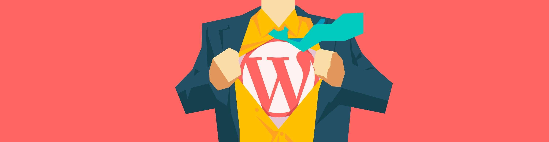 Ilustração de homem abrindo a camisa com a logo do WordPress nela.
